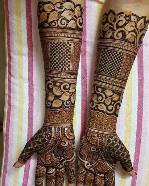 12. Leaves, Creepers with checkers Bridal Mehndi design