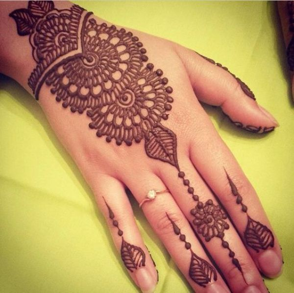 10. Curves and dots back henna design