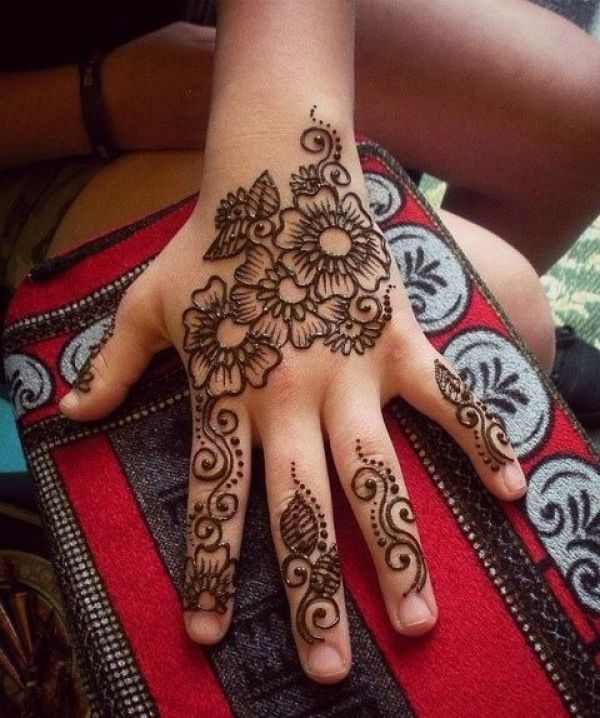 19. Many Flowers and leaves henna back hand design