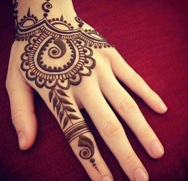 6. Filled paisley back hand henna