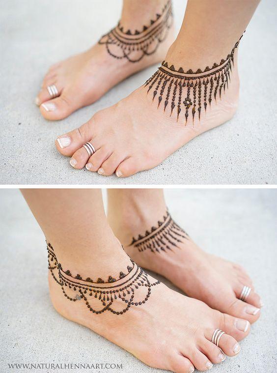 Henna Tattoo Designs Anklet: 15.Anklet Leg Henna Design