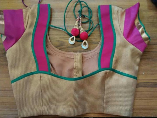 6.Beige blouse with pink and blue work