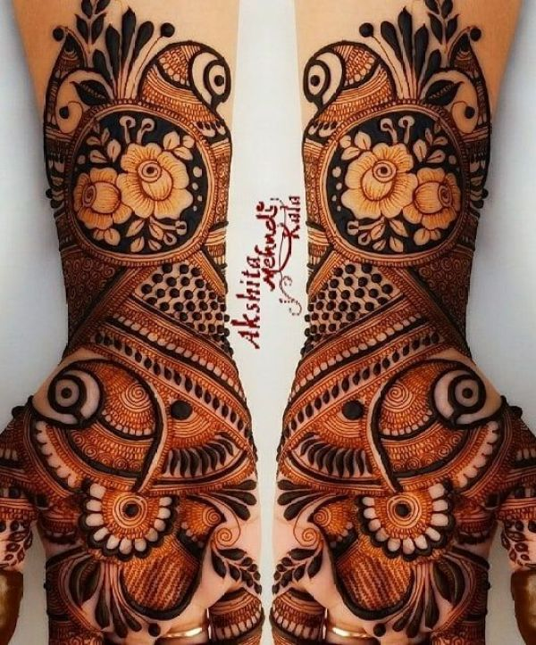 20.Rose with Peacock Mehndi design