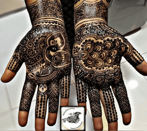 50.Black Peacock Mehndi Design
