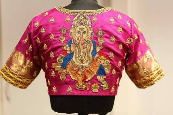 28.Ganesha design bridal blouse