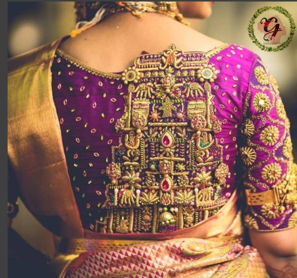 8.Temple design in bridal blouse