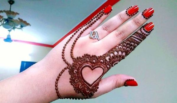 19.Hearts and dots arabic mehndi design