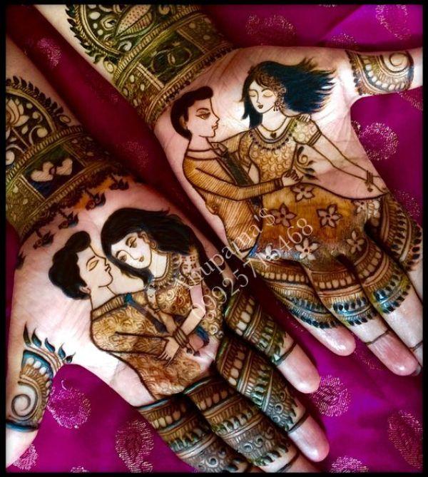 5.Simple mehndi designs of couple