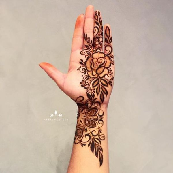 36.Rose Mehndi design #36