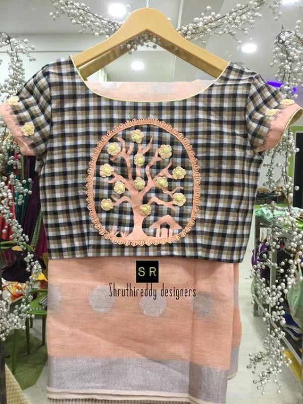19.Check blouse design #19