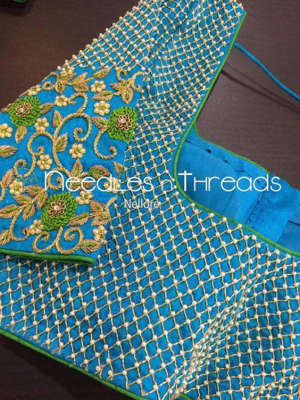 8.Check blouse design #8
