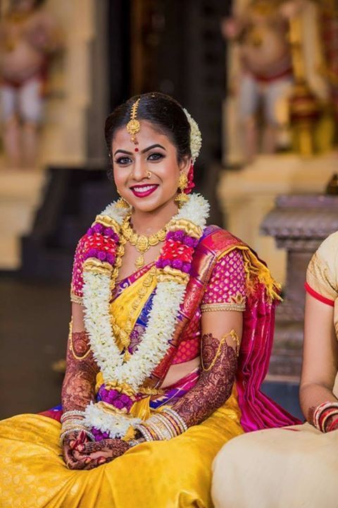 Yellow Saree With Pink Work Blouse Photo Gallery