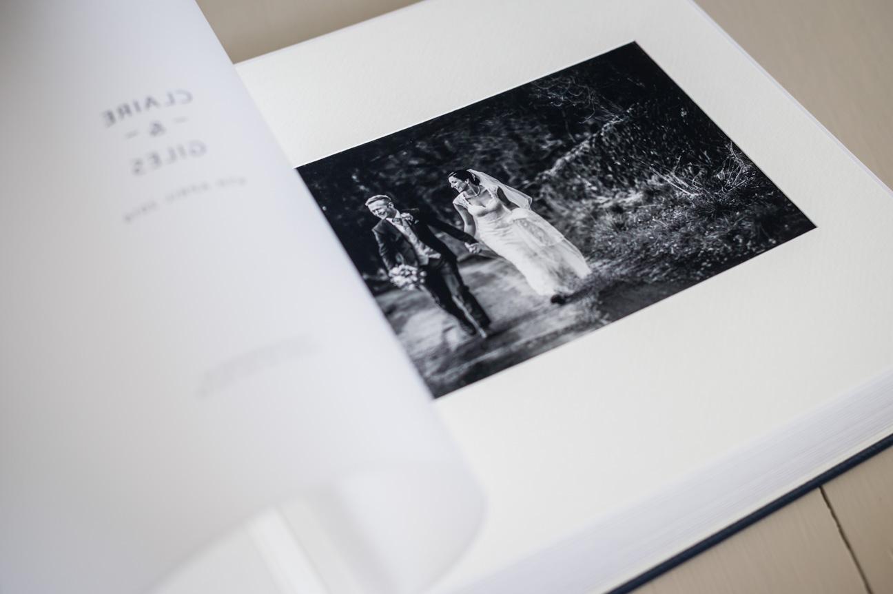 detail of print in queensberry classic wedding album