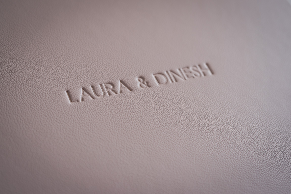 Folio wedding album debossed cover detail