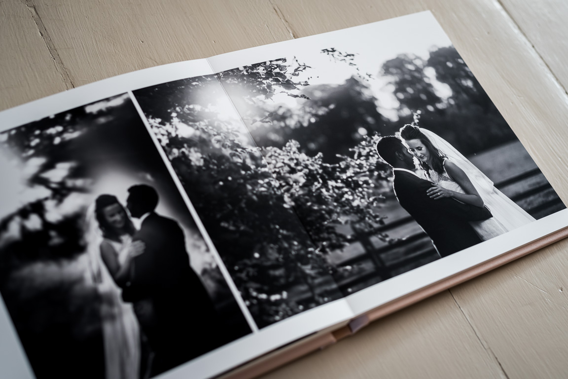 black and white wedding portraits of bride and groom