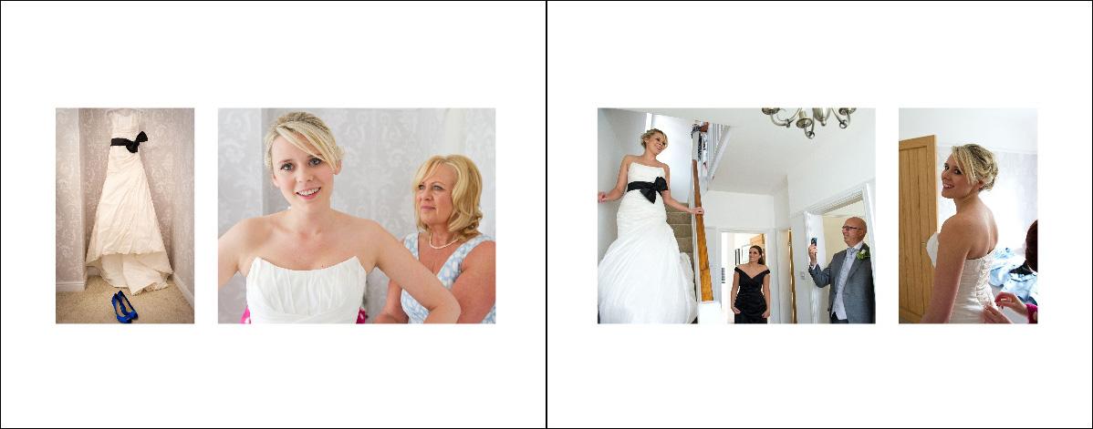 rectangular wedding album spread of bride getting ready