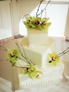 Square Wedding Cakes Are Like Pretty Packages square wedding cake with green orchids