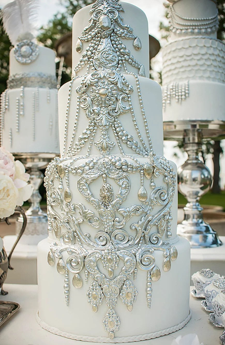Silver Wedding Cake Decorations   Wedding Ideas By Colour   CHWV Wedding Ideas by Colour  Silver Wedding Cake Decorations   CHWV