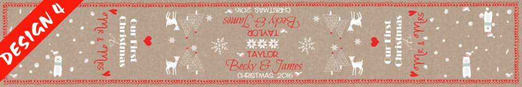 Mr and mrs first christmas table runner