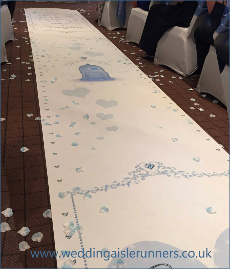 beauty and the beast themed wedding aisle runner