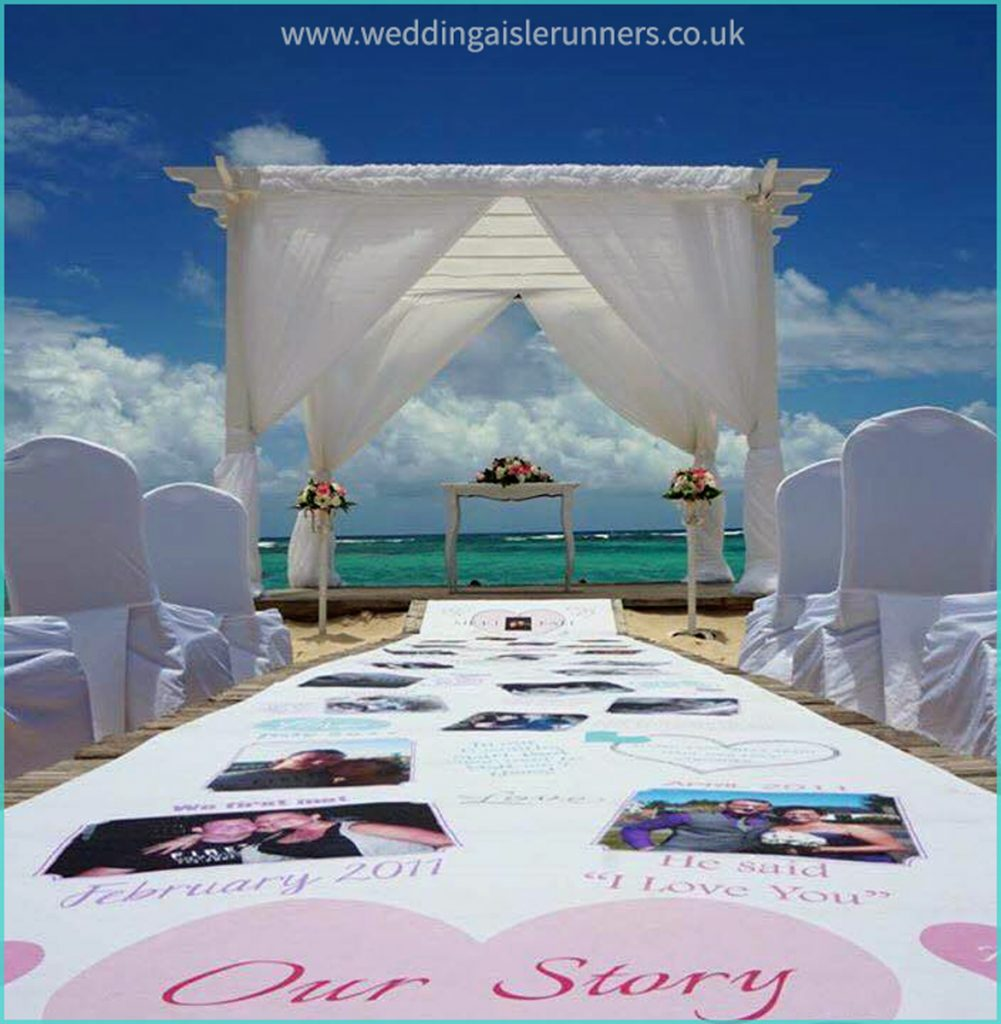 Nikki and Paul's Lovestory Timeline Wedding Aisle Runner at their beach ceremony in the Dominican Republic
