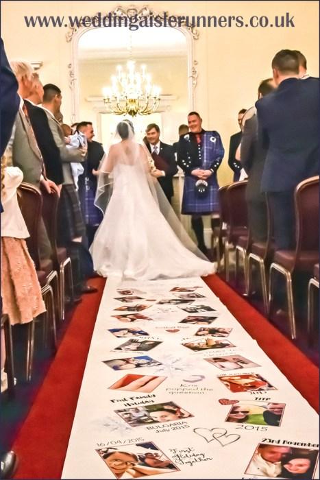 A sparkly winter wedding lovestory timeline wedding aisle runner