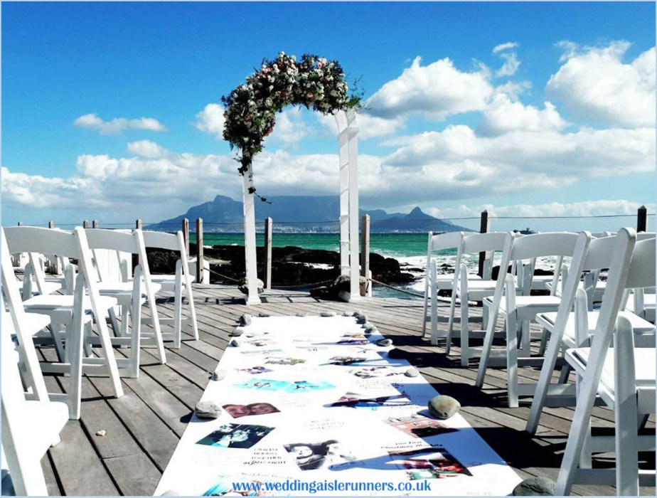 Lovestory timeline wedding aisle runner in South Africa
