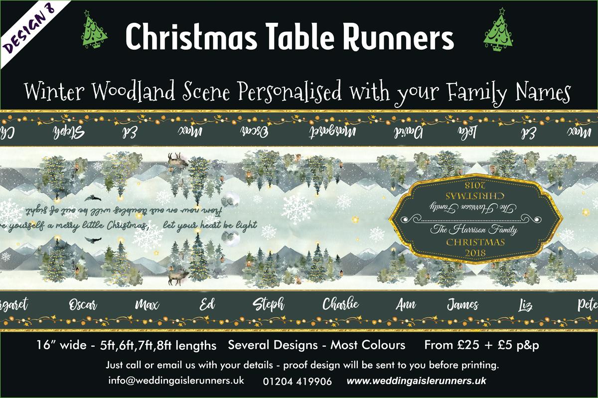 Winter Woodland Scene Christmas table Runner
