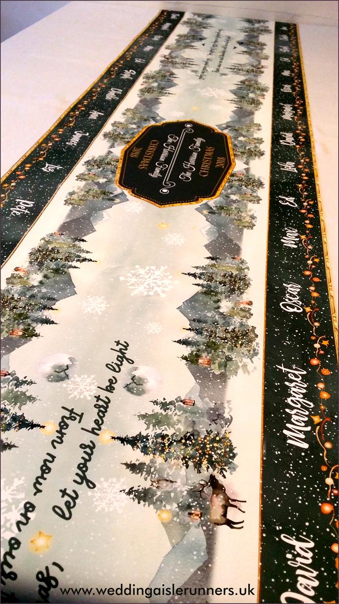 Winter Woodland Scene table runner design