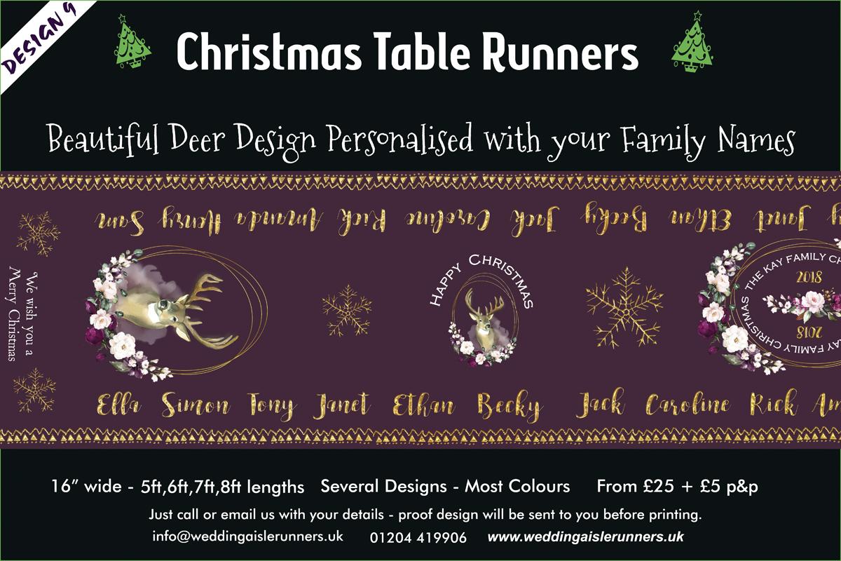 Deer Design Christmas Table Runner