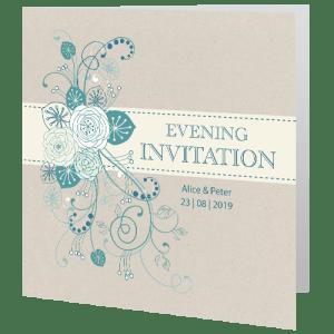 Wedding Evening Invite Teal Flower 140mm X