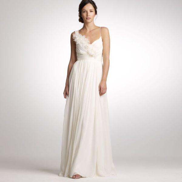 Sheath V-neck Chiffon Wedding Dress