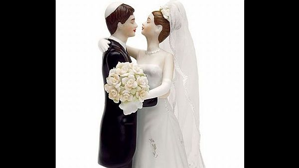 Traditional about to kiss wedding cake topper