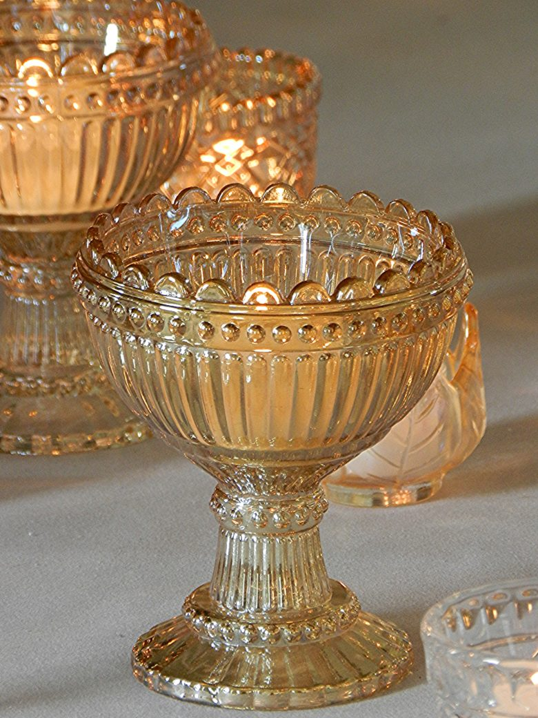 AMBER GOLD GLASS BOWL Wedding Day Hire