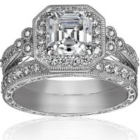Platinum-Plated Sterling Silver Swarovski Zirconia Wedding Ring Set on sale
