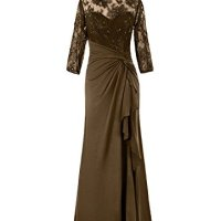 Diyouth Lace Sleeves Asymmetric Chiffon Long Mother of the Bride Dress on sale
