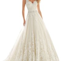 Datangep Women's Double V-Neck Lace Applique Empire Chapel Train Wedding Dress