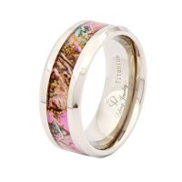 Lefeng 8mm Beveled Titanium Wedding Rings,4mm Width of Pink Painting Inlay, White Wedding Bands for Men Women Comfort Fit Unique Promise Engagement Anniversary Fashion Ring