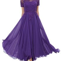 LMBRIDAL Women's Chiffon Tea Length Mother of the Bride Dress with Sleeves WMD23