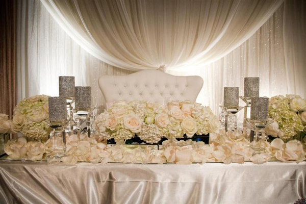 Head Table Dusty Rose Linens Platinum Runners Hydrangea And Light Pink Dendrobium Orchids