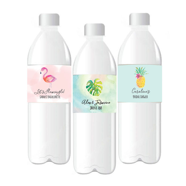 Personalized Tropical Beach Water Bottle Labels