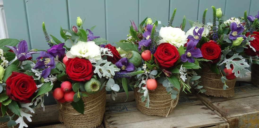 Hessian container centerpeices
