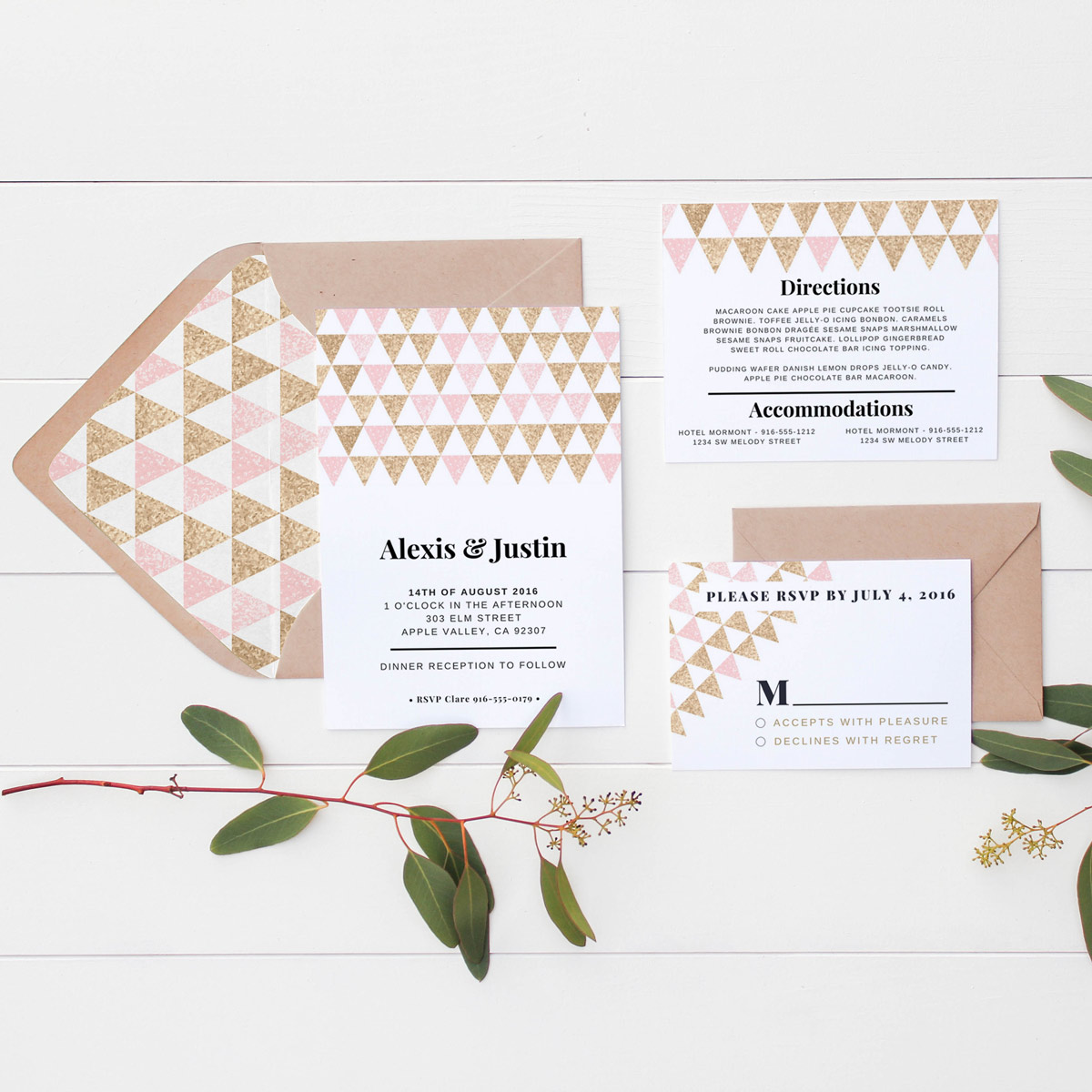 Pink and Gold Geometric Wedding Invitation Suite (3 pieces ...