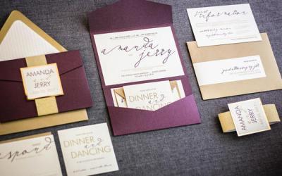 Modern plum and gold wedding invitations on Etsy