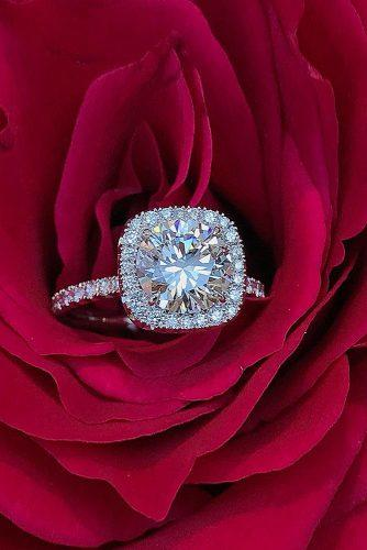 round engagement rings halo pave band diamond gold