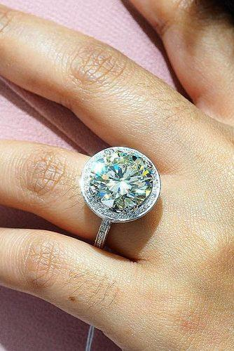 round engagement rings pave band halo white gold