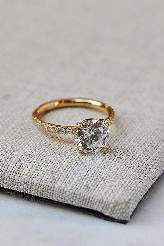 round engagement rings solitaire pave band diamond gold