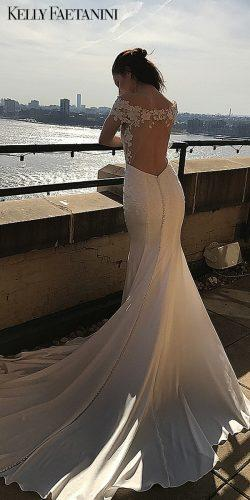 kelly faetanini wedding dresses open back short sleeve mermaid Emilia