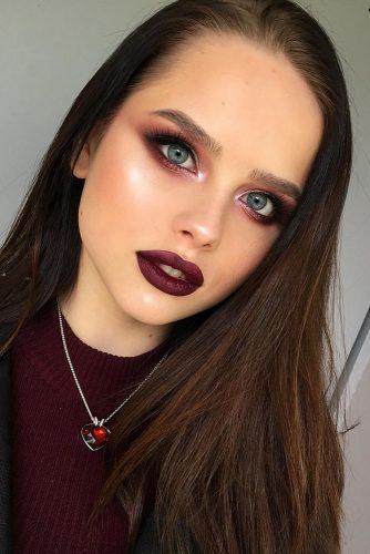 fall wedding makeup burgundy matte lips shimmer smokyeyes tominamakeup