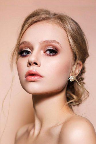 fall wedding makeup gloss coral lips soft gold brown eyeshadows shikstudio